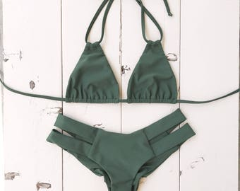 Olive Green Bikini Set - Cheeky Swimwear  By Beach Babe Swimwear - Sold as a set