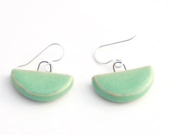 Teal Semicircle Earrings. Easy to wear jewelry. Geometric Statement Earrings, Ceramic. Mothers Day Gift under 30. Mint Green jewelry