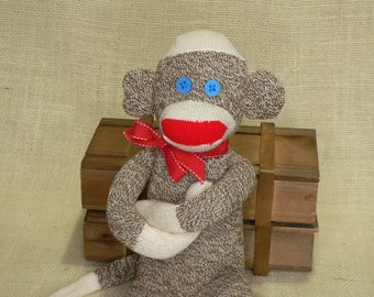 Classic Sock Monkey - Rockford Red Heel Socks - Approx 18 Inches Tall