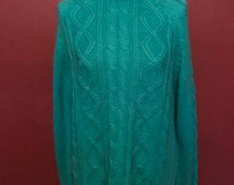 Vintage turquoise cable knit sweater