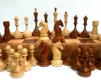 Wooden chess, weighted, reproduction of the old tournament Soviet chess set.