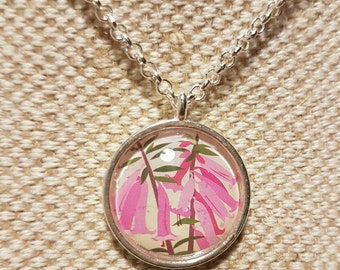 Native heath necklace / upcycled Australian stamp pendant / silver plated with 24 inch chain / pink flower jewellery