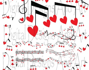 Love music clipart, notes and hearts, Lovely notes clipart, Digital Clipart Musical Accenq, Invitation Clipart Design Elements,