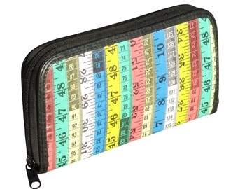 Large wallet made from colorful tape measure, FREE SHIPPING, measuring sewer sewers knitter knitters designer design teacher student women's