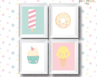 Sweets and ice creams, instant digital download, children wall art.