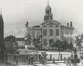 Concord, NH State House - Print of Vintage 1820 Engraving, Ready to Frame!