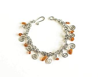 "Steel Bracelet Amber Charm Bracelet Celtic Spirals Amber Charms Stainless Steel 7.5"" Bracelet Handmade Hand Made"