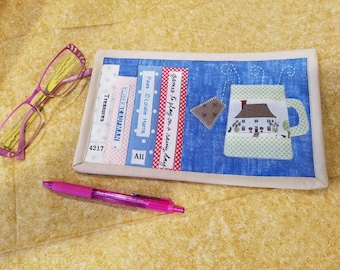 Book Worm Tea Lover Mug Rug Coaster Mini Quilt