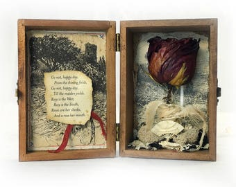 Tennyson Romantic Assemblage — Dried Rose Assemblage — Small Poetry Assemblage