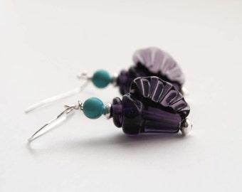 Purple Shell Earrings, Lampwork Glass Earrings, Beaded Earrings, Ocean Beach Earrings, Conch Shell Earrings