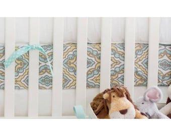 Dreamweaver Yellow and Aqua Baby Bedding   Crib Sheet