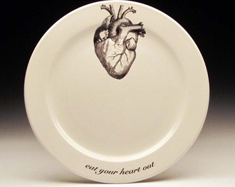 eat your HEART out 9 inch dinner plate, valentine gift, gothic valentine, anatomical heart, goth tableware, cardiologist gift
