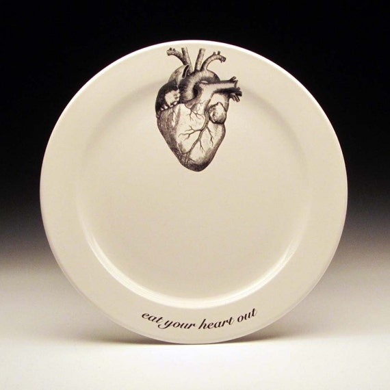 Like this item? & eat your HEART out 9 inch dinner plate valentine gift gothic