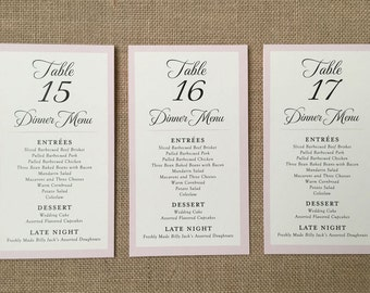 Tented Wedding Reception Menu & Table Number - The Caroline - Ivory or White 4 x 7 (folded size) - Custom Ink Colors Available