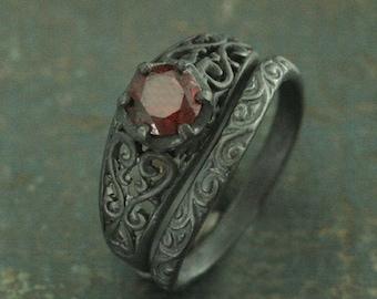 Black Filigree Ring~Black Engagement Set~Maleficent's Dark Heart~Garnet Ring~Vintage Style Ring~Antique Style Ring~Black Silver Ring