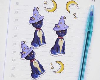 Halloween Cat Die Cut Stickers - Set of 3 | Stationery for Erin Condren, Filofax, Kikki K and scrapbooking