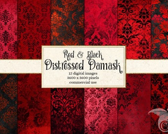 Red and Black Distressed Damask Digital Paper, vintage scrapbook paper, grunge textures, black and red gothic paper instant download