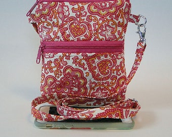 Phone Bag, Cell Phone Bag, Pink, Crossbody Strap, Festival Bag, Paisley, Fabric, Zipped Bag, Gift for Her