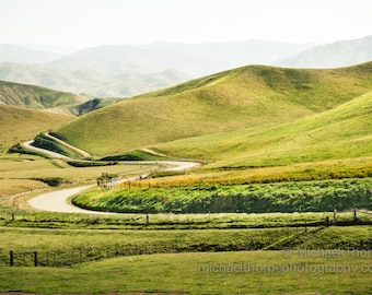 landscape hills mountain lazy meandering road cattle ranch country decor fine art photography