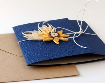 Sunflower wedding invitation/Thanksgiving invite/Quilling Sunflower and wheat country invitation/Navy blue invitation/Rustic invitation