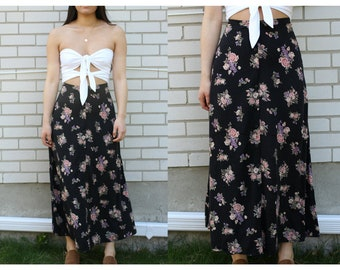 Vintage floral printed button up maxi dress, flowy and bohemian style, boho-chic festival