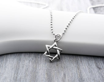 Sterling Silver Star of David Necklace, Star of David Jewelry, Star of David Charm, Magen David, Hanukkah Jewelry, Jewish Star Necklace
