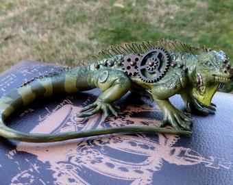 Iguana Steampunk Myxie Pal Sculpture