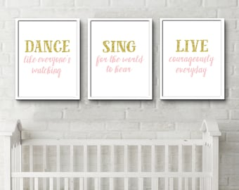 Little Girls Bedroom, Positive quotes, Inspirational Prints, kids quote prints, new baby room decor, nursery wall, above crib decor