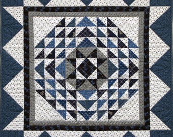 "Indigo Star Historically Inspired Quilt by Red Crinoline Quilts, Quilt is approx. 24"" x 24"""