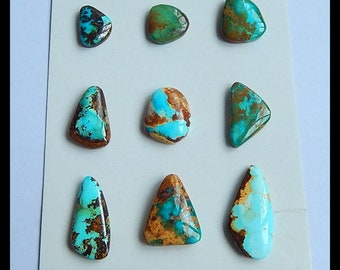 SALE,9 PCS Arizona Turquoise Gemstone Cabochons,26x13x4mm,14x10x3mm,12.9g,-Cb337