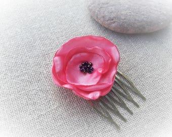 Peigne mariée peigne fleur rose peigne cérémonie rose peigne tissu
