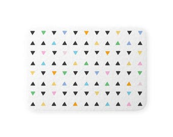 Fuzzy Plush BATH SHOWER MAT Rug Quick Dry Memory Foam Nonslip Back Neutral Minimalist White Tiny Colorful Triangles Free Shipping Two Sizes