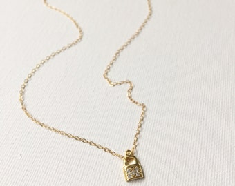 Gold Pave Lock Necklace