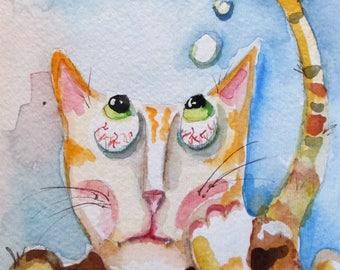Cat Dream 9x6 original watercolor painting Art by Delilah