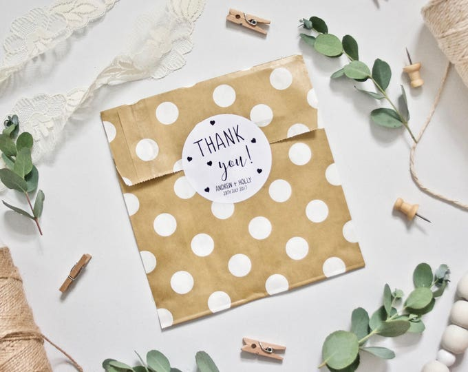 CUSTOM Thank You Wedding Stickers - Personalised with Couple's Names and Date of Wedding - 51mm White Gloss