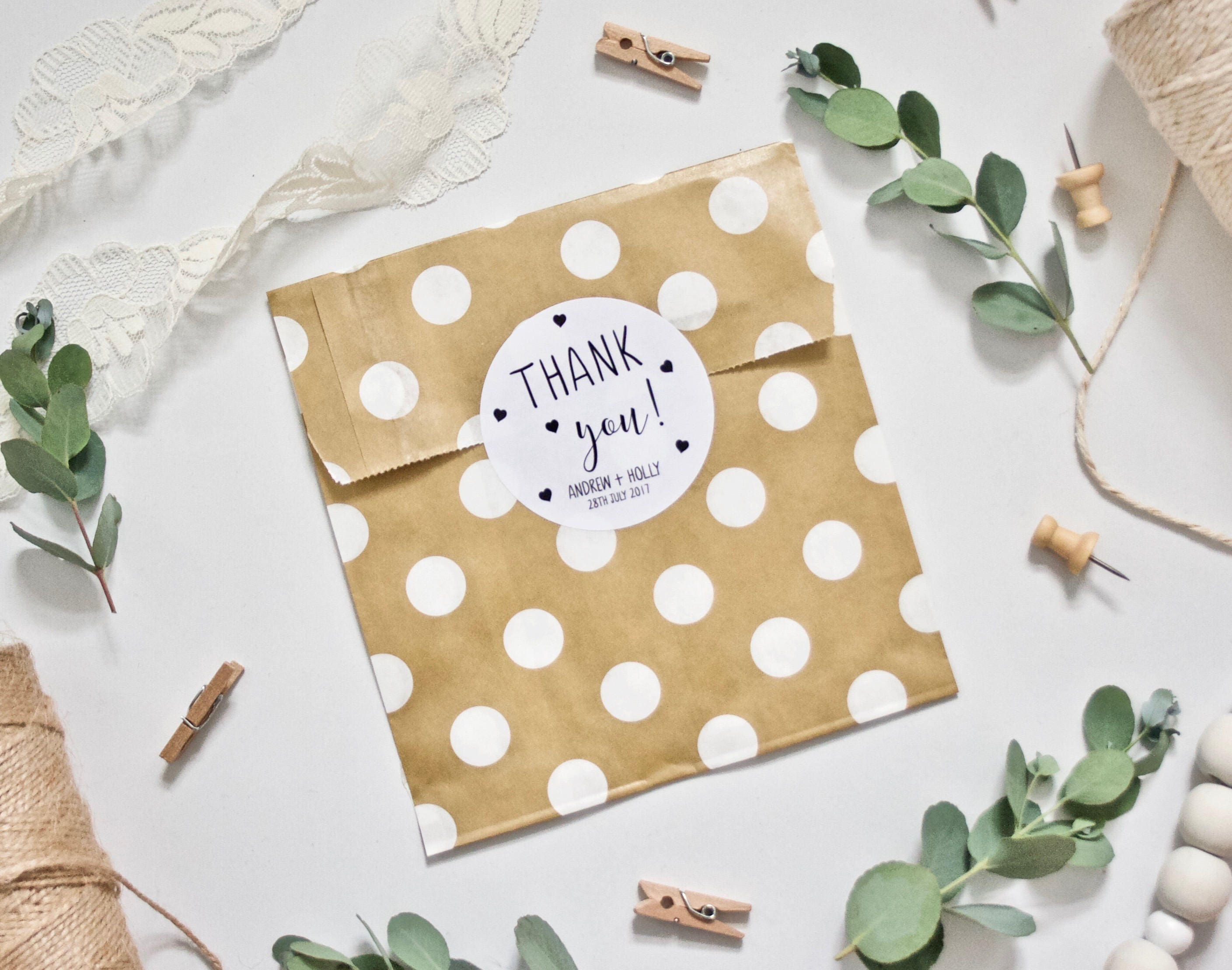 CUSTOM Thank You Wedding Stickers - Personalised with Couple\'s Names ...