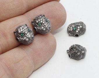 3 Pcs Micro Pave Leopard Beads, Gunmetal Cat Beads, Cubic Zirconia Leopard , Leopard Head Bads, Cz Pave Leopard, zrcn354