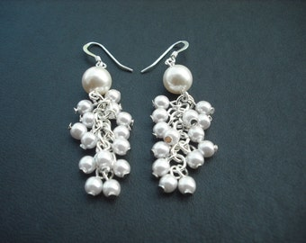 pearl cluster earrings with swarovski pearl
