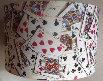 Playing Cards  Lampshade, Shabby Chic, Lamp shade, vintage , retro. clubs, hearts, spades, diamonds,, by Fatta da Mamma FREE GIFT
