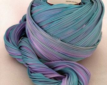 1 yd Silk Ribbon Hand Dyed Shibori Silk Ribbon Lapis Sky Shibori Girl Silk Necklace Cord