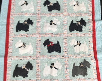 Woof! * SCOTTIE DOG * Scottish Terrier Schnauzer Doggie Puppy  Baby/Lap Quilt! Soft Flannel Backing, Blankie