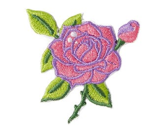 Pink Rose Iron On Applique, Pink Rose Iron On Patch, Flower Applique, Pink Rose Patch, Rose Applique, Flowers Patch, Embroidered Patch
