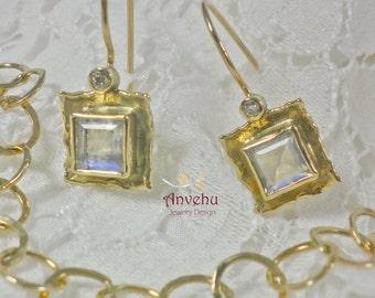 14k solid gold earrings Square dangle earrings Rainbow Moonstone and diamonds dangle earrings bridal earrings Anniversary earrings  Handmade