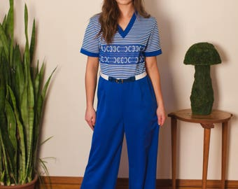 70s Jumpsuit Polyester High Waist Deadstock Retro Blue White Belted