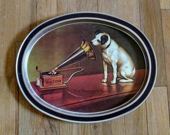 Vintage Authentic Victor RCA Nipper Oval Metal Tray