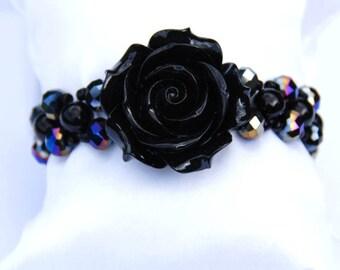 Black Rose Bracelet, Black Crystal Bracelet, Gift for Her, Mothers Day Gift, Crystal Bracelet, Black Bracelet, Flower Bracelet,