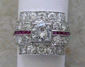 Antique Diamond Engagement Ring With Ruby Accents Platinum Circa 1920