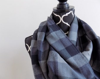 Fifty Shades of Grey Plaid Infinity Scarf Two Loop Girls Scarf Plaid Fashion Scarf Gray Infinity Scarf Warm Winter Scarf Plaid Gift for Her