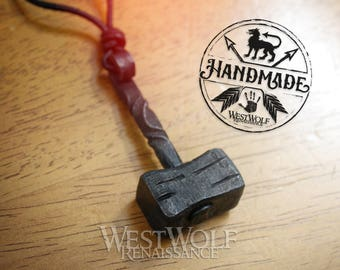 Hand-Forged Iron Thor's Hammer Pendant -- Norse/Odin/Mjolnir/North/Medieval/Blacksmith/Necklace