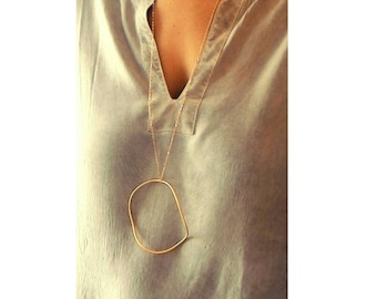 Statement gold necklace , Long delicate necklace , Long gold unique necklace , Elegant and minimalist jewelry , Pendant long necklace
